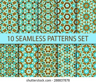 Set of vintage seamless patterns. Ten unrepeatable asian ornaments with swatch for filling.