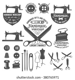 Set of vintage sewing labels, badges, design elements and emblems. Tailor shop old-style logo