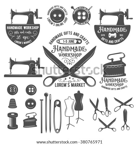 Set Vintage Sewing Labels Badges Design Stock-Vektorgrafik ...