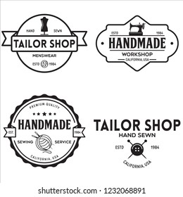 Set of vintage sewing and tailor labels, badges, design elements and emblems. Tailor shop old-style logo. Isolated vintage illustration.