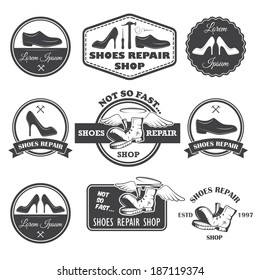 Set of vintage shoes repair labels, emblems and designed elements.