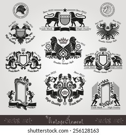 set vintage silhouette heraldic labels with pattern and animals, eagle lion tiger leopard bird lion head