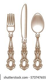 Set of vintage silver cutlery