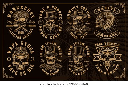 Set of vintage skulls in different styles such as western, gangster, vaping and other. All elements colors, text, are on the separate groups.