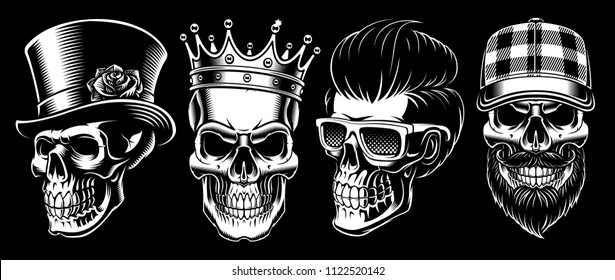 Set of vintage skulls on dark background.