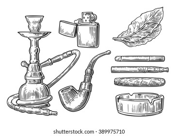 Set of vintage smoking tobacco elements. Monochrome style. Hookah, lighter, cigarette,  cigar, ashtray, pipe, leaf, mouthpiece. Vector engraved black illustration isolated on white background.