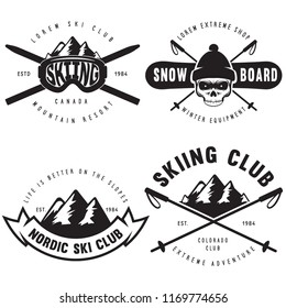 Set of vintage snowboarding, ski or winter sports logos, badges, emblems and design elements. Vector illustration. Monochrome Graphic Art. Concept for shirt, print, seal or stamp.