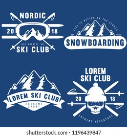 Set of vintage snowboarding, ski or winter sports logos, badges, emblems and design elements. Vector illustration. Color Graphic Art. Concept for shirt, print, seal or stamp.