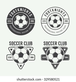 Set of vintage soccer or football logo, emblem, badge. Vector illustration