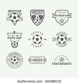 Set of vintage soccer or football logo, emblem, badge. Vector illustration. Graphic Art
