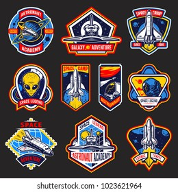 Set of vintage space and astronaut badges, emblems, logos and labels. Coloure style. Vector illustration