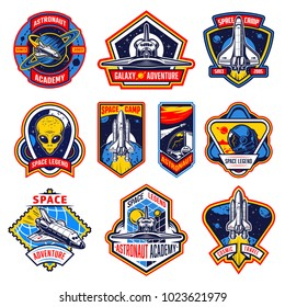 Set of vintage space and astronaut badges, emblems, logos and labels. Monochrome style. Vector illustration
