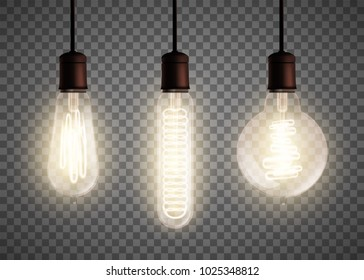 Set of vintage spiral Edison light bulb is glowing in the dark. Isolated on a transparent background. Stock vector illustration.