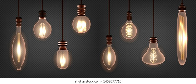 Set of vintage spiral Edison light bulb. Realistic retro lamp with soft amber hue glowing. Isolated on a transparent background. Vector illustration.