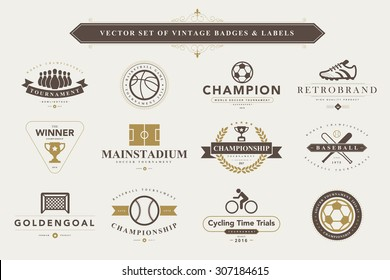 Set of vintage sport badges and labels