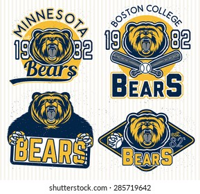 Set of vintage sport labels, badges and design elements. Graphic Mascot Vector Image of a bear. Logos for sport.