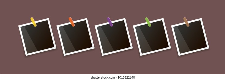 Set of vintage square photo frame with shadow isolated on vintage horizontal brown wall background. Vector Photo realistic horizontal Mockups with empty space for photo. old photo collection