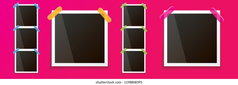 Set of vintage square photo frame with shadow isolated on pink wall background. Vector Photo realistic horizontal Mockups with empty space for photo. old photo collection