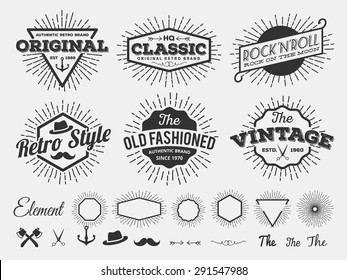 Set of Vintage star burst insignia logotype for logo design, emblem, t-shirt screen and printing with star burst, arrow, scissors, ax, anchor, ribbon, hat, flourishes line