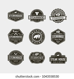 set of vintage steak house logos. retro styled grill restaurant emblems, badges, design elements, logotype templates. vector illustration