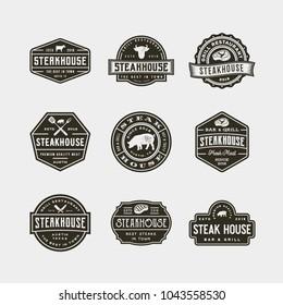set of vintage steak house logos. retro styled grill restaurant emblems, badges, design elements, logotype templates. vector illustration