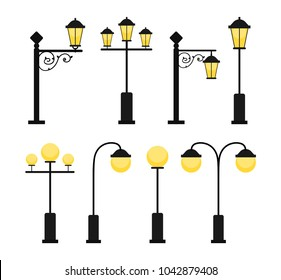 A set of vintage street lamps for roads and parks. A set of antique decorative lamps. A set of round modern lamps. Industrial electric objects. Flat vector illustration. Isolated on white background.