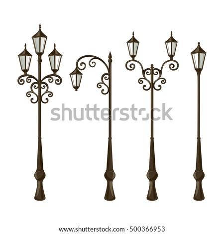 set vintage street lights vector illustration stock vector royalty