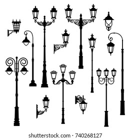Set of vintage streetlights.  Can be used for scrapbook, postcards, print, etc.
