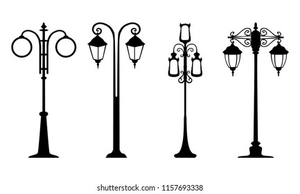 Set of vintage streetlights for scrapbook postcards, print. Vector retro street lamp lights isolated on white background. Lamppost in retro style, lantern black streetlights on white.