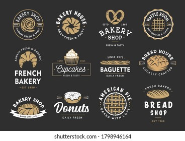 Set of vintage style bakery shop labels, badges, emblems and logo. Vector illustration. Colorful graphic art with engraved design elements. Collection of linear graphic on black background.