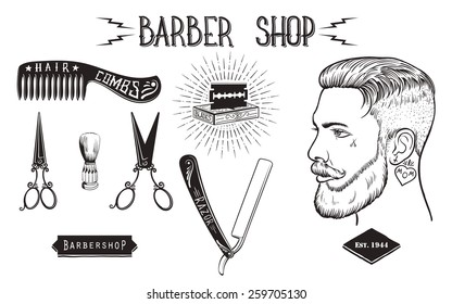 Set of vintage style barber shop objects, badges and design elements. Isolated white background.