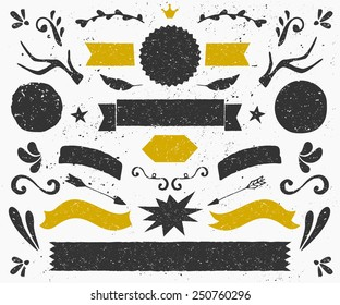 A set of vintage style design elements in dark gray and golden. Hand drawn decorative elements and embellishments. Banners, ribbons, swirls, labels and other retro style graphics.