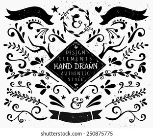 A set of vintage style design elements in black and white. Hand drawn decorative elements and embellishments. Borders, ribbons, swirls, labels and other retro style graphics.