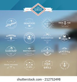 Set of vintage style elements for labels and badges for seafood, on the sea background
