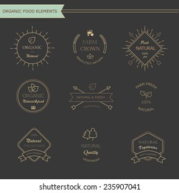 Set of vintage style elements for labels  and badges for meat, fresh organic products,