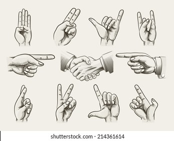 Set of vintage style hand gestures showing counting  hard rock horns  v-sign for peace or victory  pointing and two businessmen in a handshake  vector drawings