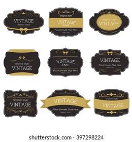 Set of vintage style label element. Vintage ornament.