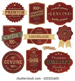 A set of vintage style labels in red and golden.
