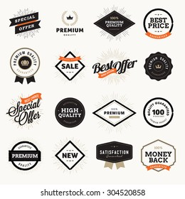 Set of vintage style premium quality badges and labels for designers. Vector illustrations for e-commerce, product promotion, advertising, sell products, discounts, sale, the mark of quality.