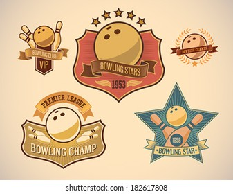 Set of vintage styled bowling tournament labels. Editable vector illustration.