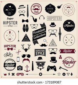 Set of Vintage styled design Hipster icons. Vector illustration background