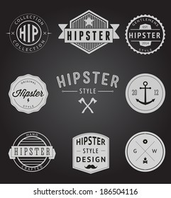 Set of Vintage styled design Hipster icons, badge logo and 	label. Vector illustration background