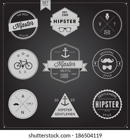 Set of Vintage styled design Hipster icons, badge logo and label. Vector illustration background