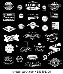 Set of Vintage styled design logo icons, label, badge  Vector graphic