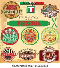 Set of vintage styled pizza labels