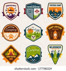 Set of vintage summer camp badges and outdoors logo emblems