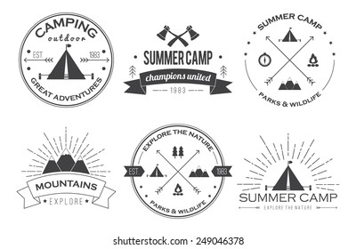 Set of vintage summer camp badges and other outdoor logo's, emblems and labels. EPS 10.