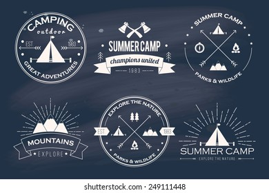 Set of vintage summer camp badges and other outdoor logo's, emblems and labels