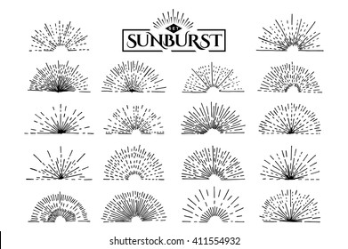 Set of vintage sunburst. Hand drawn. Light ray. Design template  for icons, logos or graphic elements.
