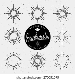 Set Of Vintage Sunburst Shapes For Your Design. Collection Of Retro Light Rays. Hand-Drawn Vector Design Elements.
